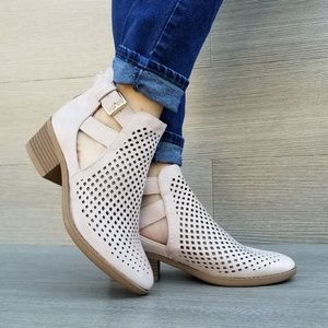 Rose Pink Open Perforated Ankle Booties